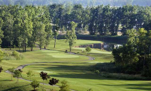 A view of tee #15 and green #17 at Lakes of Taylor Golf Club