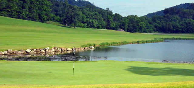 A view of a hole with water coming into play at Avalon Country Club.