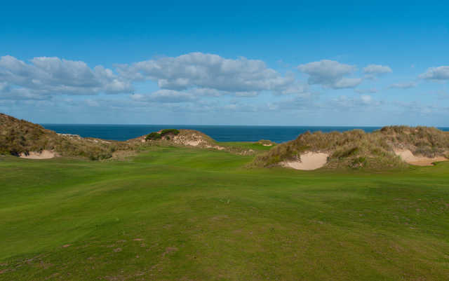 View of the 9th hole at Cape Wickham Links