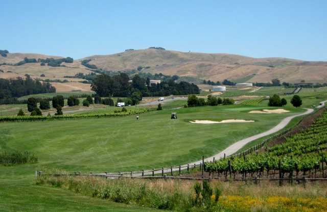 Eagle Vines Vineyards & Golf Club's 13th and 14th fairways are framed by a future shipment of Sauvignon Blanc.