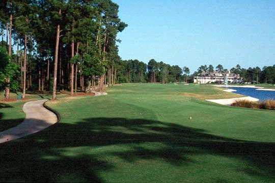 Jacksonville Golf and Country Club's clubhouse seen from the 18th fairway