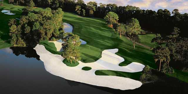 A view of the 14th green at Lake Nona Golf & Country Club: aerial view