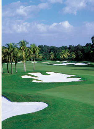 View of a green and bunker from the Red Tiger Course at Trump National Doral Miami