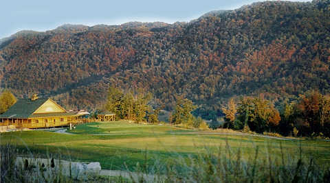 A view of the clubhouse at Raven Rock Golf Course