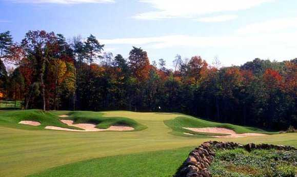 A fall view of the 13th green (courtesy of Westfields Golf Club)