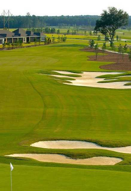 A view of fairway with bunkers on the right at Hilton Head Lakes Golf Club