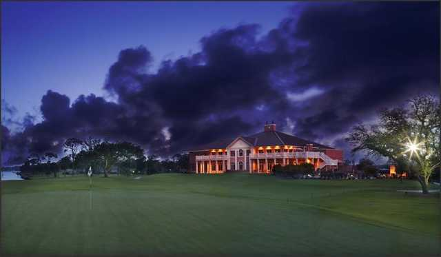 An evening view of the clubhouse at Pensacola Country Club.