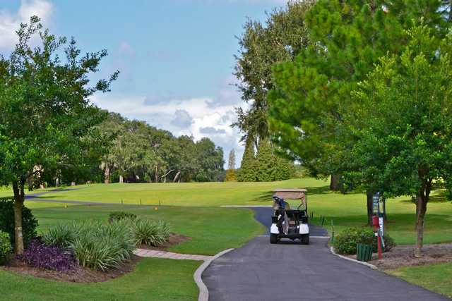 A view of tee #1 with cart path on the right at Buckhorn Springs Golf & Country Club