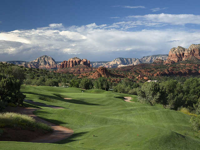 A view of the 10th green at Sedona Golf Resort