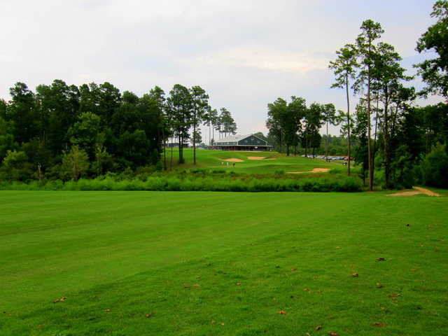 A view from fairway #9 of the clubhouse at Texarkana Golf Ranch