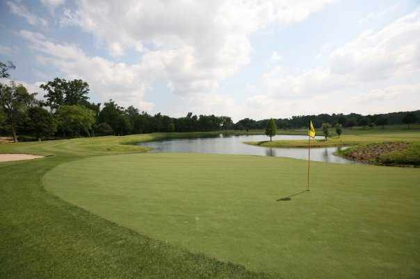 A view of a green with water coming into play at Hollytree Country Club