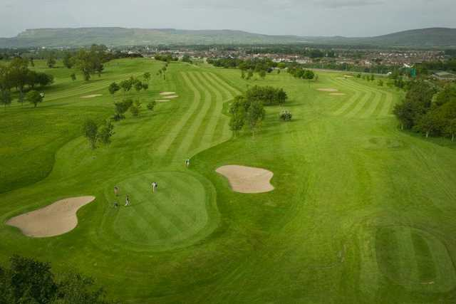 Aerial view of the 7th green at Roe Park Golf Club