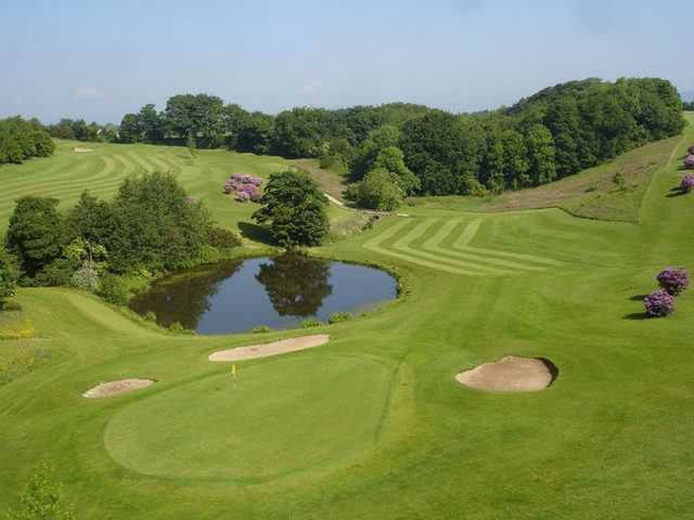 Aerial view of the 15th green protected by bunkers at Roe Park Golf Club