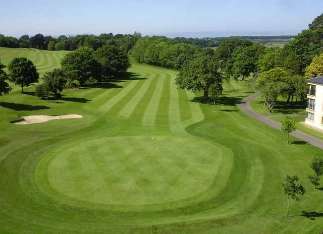 Aerial view of the 18th green and fairway at Roe Park Golf Club