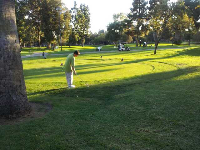 A view of the practice putting green at Heartwell Golf Course
