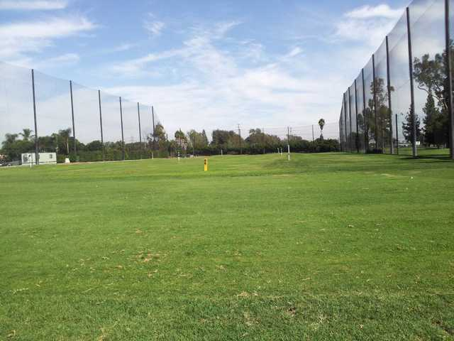 A view of the driving range at Heartwell Golf Course