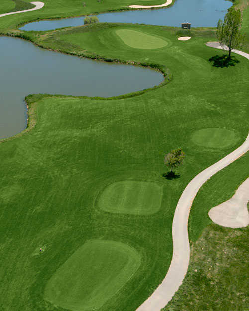 Aerial view of the 5th hole at Broken Tee Englewood Golf Course