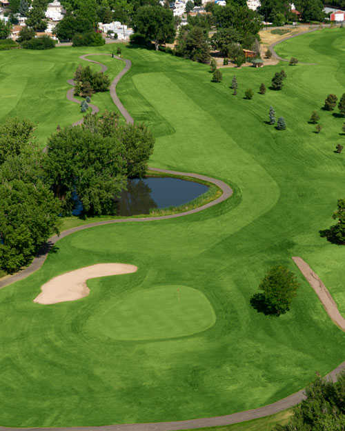 Aerial view of green #14 at Broken Tee Englewood Golf Course