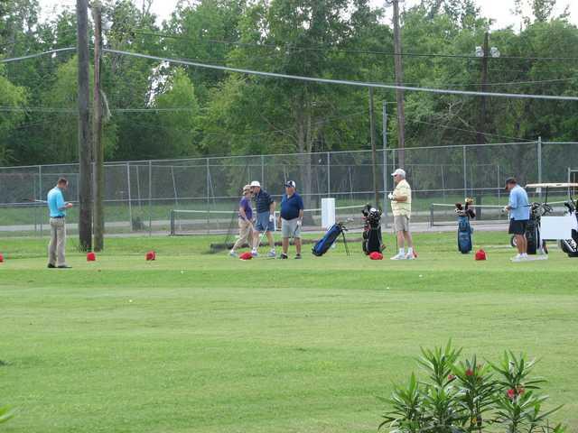A view of the driving range tees at Grand Ridge Golf Club
