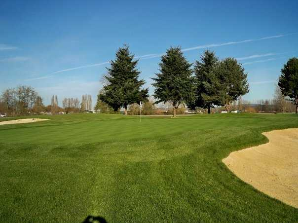 A view of the 5th green at Eighteen Hole from Riverbend Golf Complex
