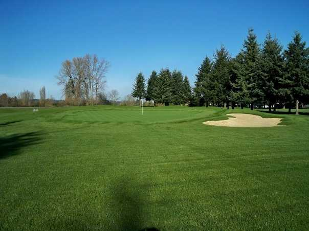 A view of green #8 with bunker on the right at Eighteen Hole from Riverbend Golf Complex