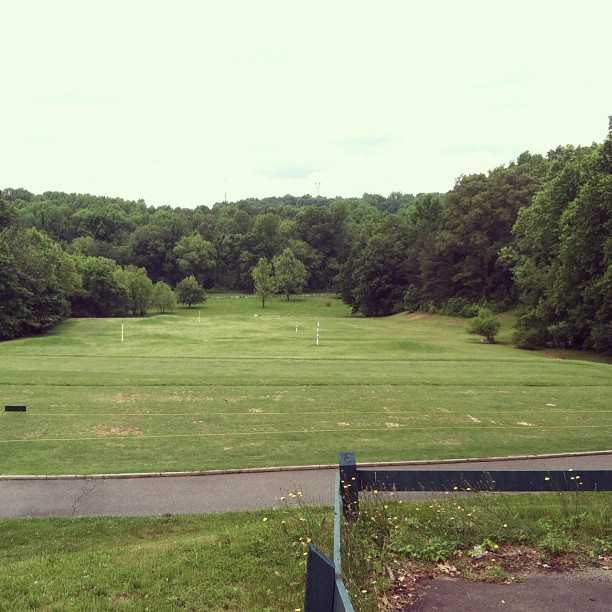 A view of the driving range and putting green at Reynolds Park Golf Course