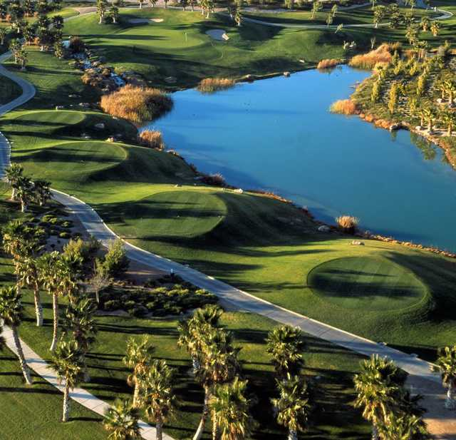 Aerial view of hole #16 at Rhodes Ranch Country Club