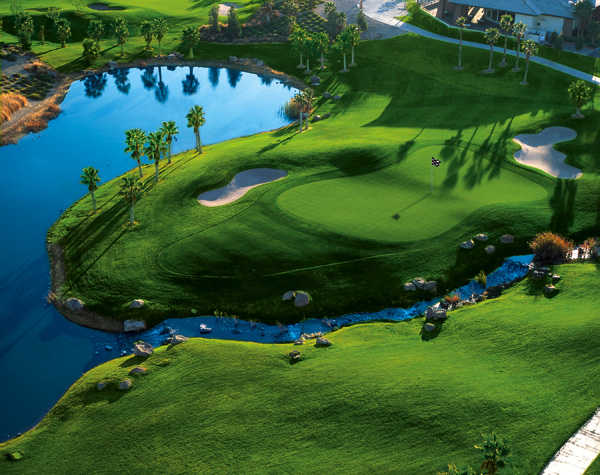 Aerial view of the 18th green at Rhodes Ranch Country Club