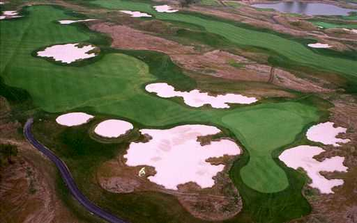 Aerial view of the 18th hole at Purgatory Golf Club