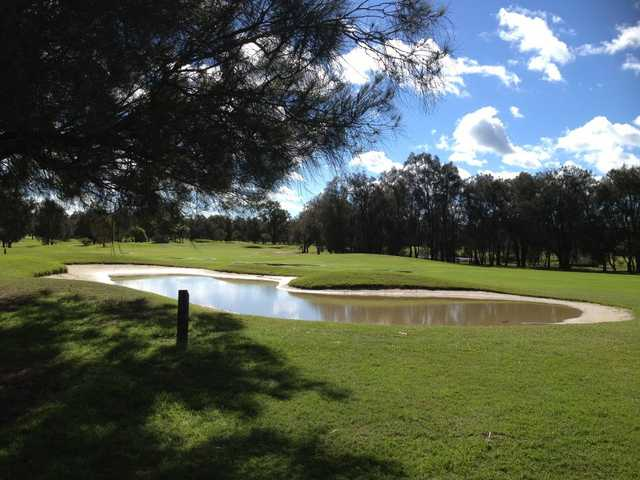 A view of hole #9 at Brook Course from Nudgee Golf Club.