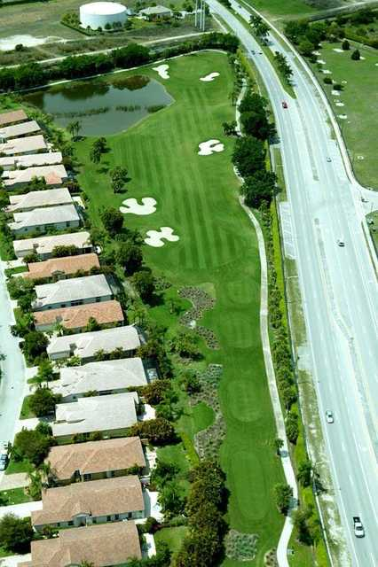 Aerial view of the 12th hole at West from Wycliffe Country Club