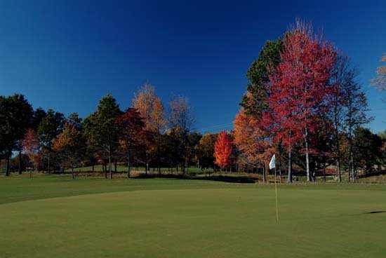 A fall view of green at Mines Golf Course
