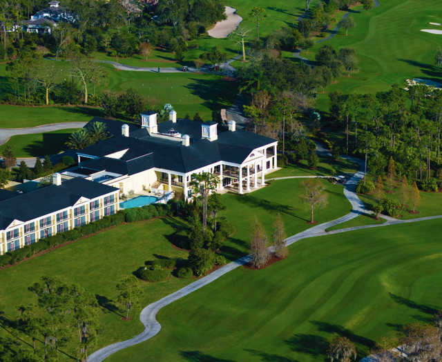 Aerial view of the clubhouse at Lake Nona Golf & Country Club