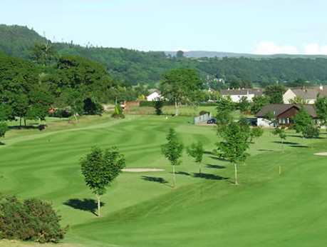 A view of the clubhouse and 1st tee at Newton Stewart Golf Club