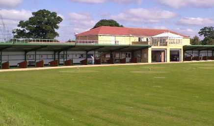A view of the driving range tees at Thorpe Park Course from Lincoln Golf Centre