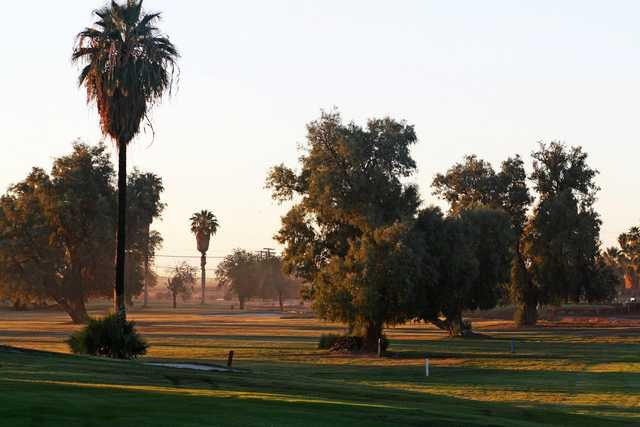 Sunset view of a fairway at Barbara Worth Golf Resort