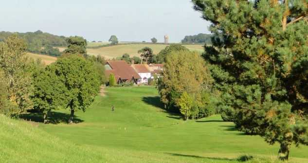 Looking down the 1st fairway to the clubhouse at Farthingstone