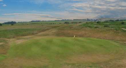 A view of green #4 at Dunstanburgh Castle Golf Club