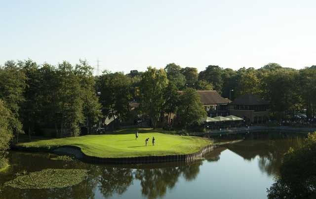 Water surrounds the 18th green at Silvermere Golf and Leisure.