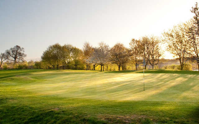 A sunny view of a green at North Warwickshire Golf Club