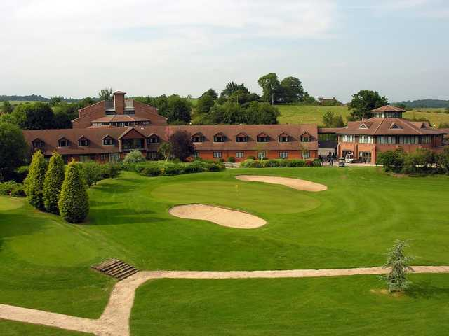 A view of the 8th green and the clubhouse at Abbey Hotel Golf & Spa