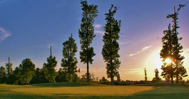 Sunset view of a hole at The Golf Club at Eagle Creek