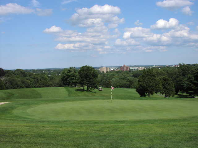 View of a green at Furnace Brook Golf Club