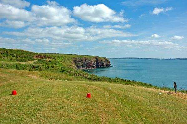 A view of a tee at Dunmore East Golf Club