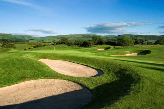 A view of hole #8 protected by bunkers at Queen's Course from Gleneagles Hotel