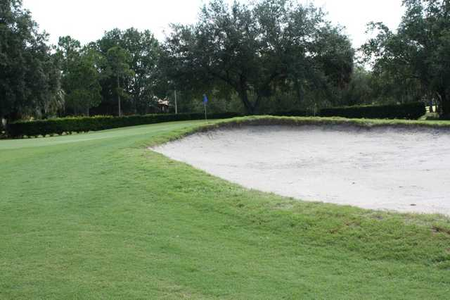 A view 0f a green protected by a bunker at Beacon Woods Golf Club