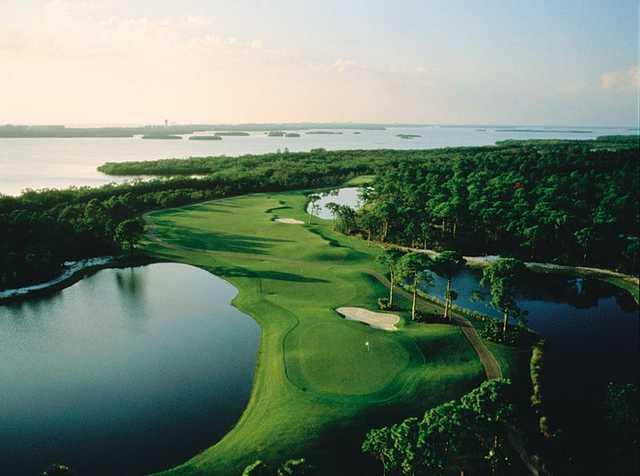 Aerial view of a green and fairway at Bonita Bay Club