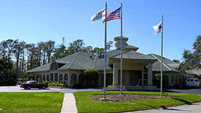 A view of the clubhouse at Hunters Ridge Country Club