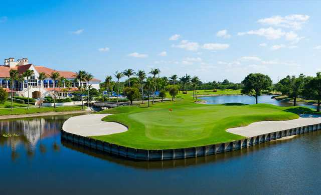 A view of a green surrounded by water at Boca Raton Resort & Club