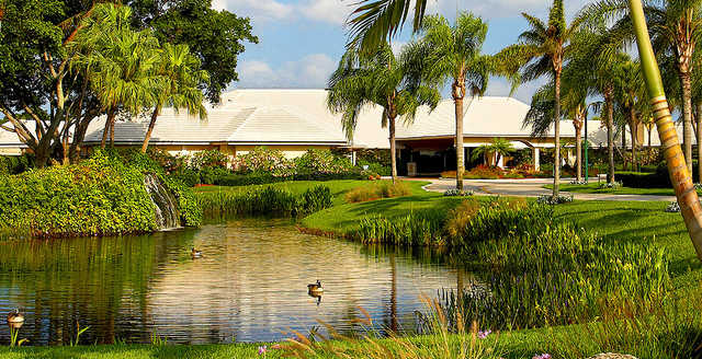 A view of the clubhouse at Boca Woods Country Club